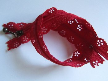 rits met kanten rand 30 cm, rood