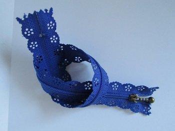 rits met kanten rand 30 cm, blauw