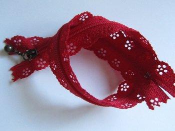 rits met kanten rand 20 cm, rood