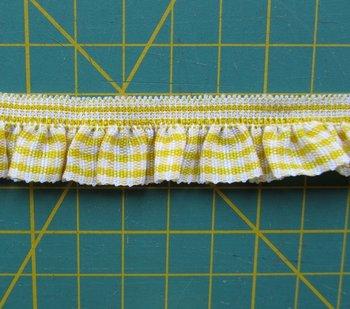 elastisch ruitjesband, geel/wit