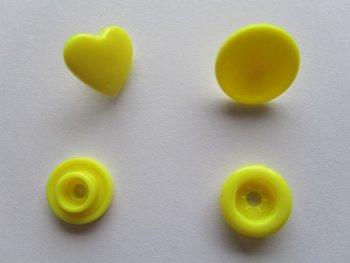 snaps geel glanzend hartje, kleur 7