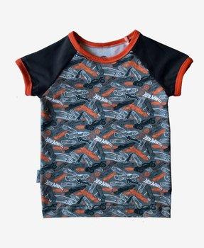 Hot Wheels, tricot met logo en auto's op tinten grijs met beschaafd oranje