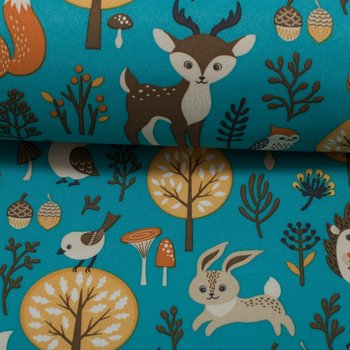 Sheldon: dieren uit het bos op petrol softshell, winddicht en waterafstotend