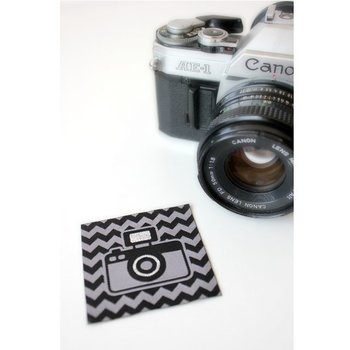 Fototoestel, geweven etiket, zwart-grijs met glittereffect