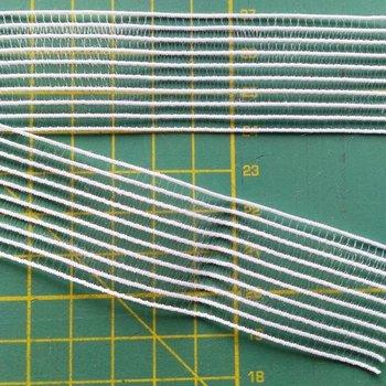 zeer dun en soepel gaaselastiek of rimpelband-elastiek wit 3 cm