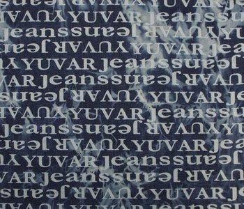 coupon 45 cm:  Dover:  spijkerstof met letters