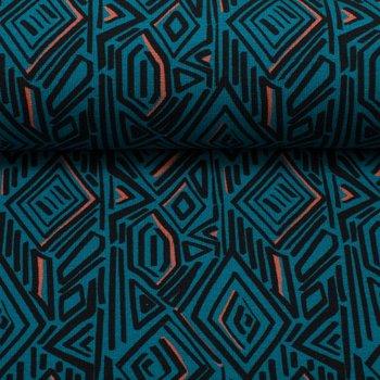 Imperial Mess by Joliyou: french terry met grafische print in blauw/zwart/oranje