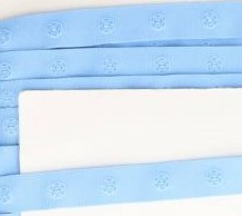 drukkertjesband jeansblauw: afstand 2,5 cm: HALVE meter