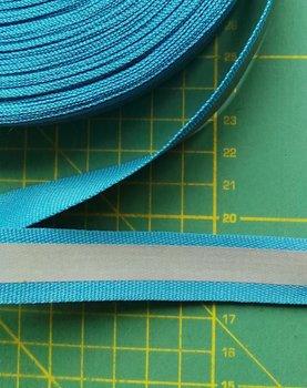 2 cm breed ribsband met reflecterende streep op turquoise