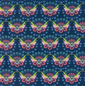 coupon 120 cm: Flora: tricot met bloemenvlinders op donkerblauw naar een ontwerp van Jolijou