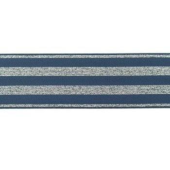 elastiek 4 cm breed:strepen lurex op jeanskleur/ HALVE METER