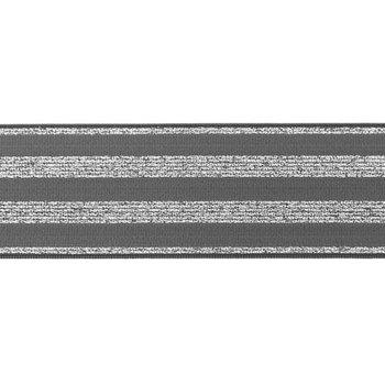 elastiek 4 cm breed:strepen lurex op gijs/ HALVE METER