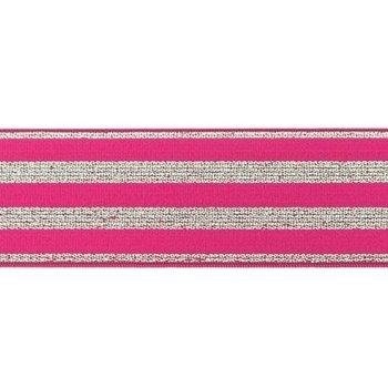 elastiek 4 cm breed:strepen lurex op fuchsia / HALVE METER