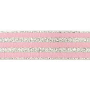 elastiek 4 cm breed:strepen lurex op roze / HALVE METER