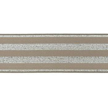 elastiek 4 cm breed:strepen lurex op taupe / HALVE METER