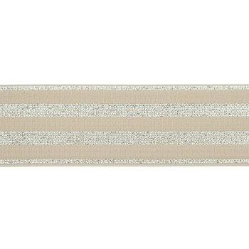 elastiek 4 cm breed:strepen lurex op zand / HALVE METER