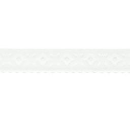 wit omvouwelastiek met geweven figuurtje aan één kant en een klein schulprandje op de vouw
