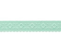 oud mint omvouwelastiek met geweven figuurtje aan één kant en een klein schulprandje op de vouw