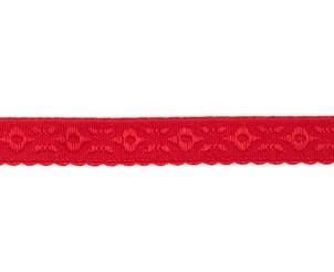 rood omvouwelastiek met geweven figuurtje aan één kant en een klein schulprandje op de vouw
