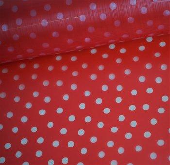 Rainy day: regenjassenstof transparant! rood met witte stippen
