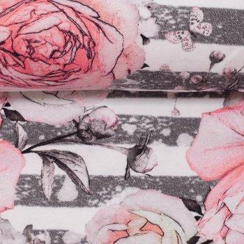 Matti: digitaal bedrukte tricot: zalmroze bloemen op grijs/witte strepen