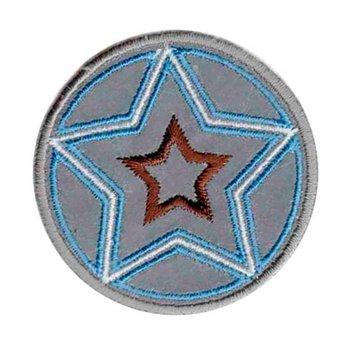 opstrijkbare applicatie:reflecterende button met turquoise geborduurde ster