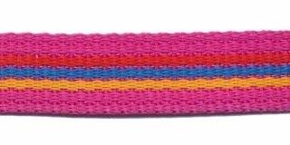 stevig tassenband 20 mm, streep fuchsia/rood/blauw/geel
