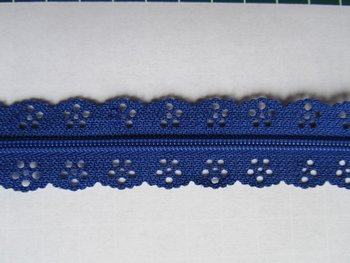 kanten rits aan de meter, blauw