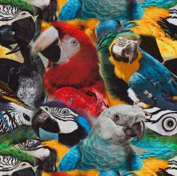 Tim: digitaal bedrukte tricot:papegaaien