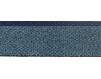 taille-elastiek 4 cm breed: jeanskleur met streep aan één kant/HALVE METER