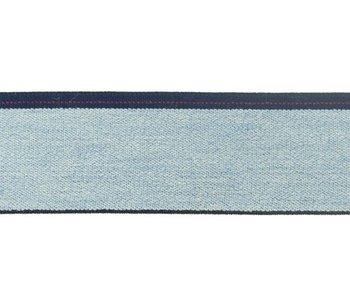 taille-elastiek 4 cm breed: lichte jeanskleur met streep aan één kant/HALVE METER