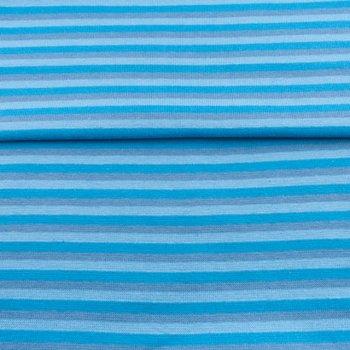 fijne boordstof gestreept: 5 mm strepen: turquoise/lichtblauw/grijs