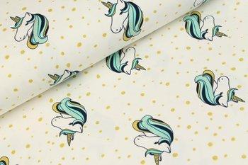 Tricot unicorn wolwit met glitters in goud en lichtturquoise