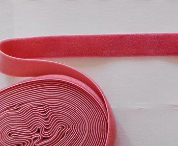elastisch fluweelband donker zalmroze 1,4 cm breed