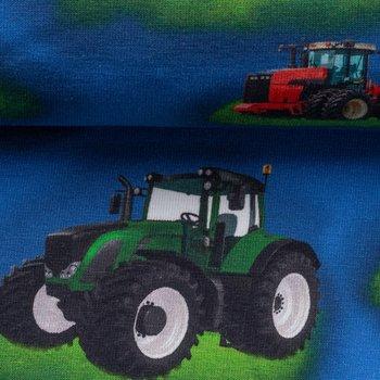 Mattes, tractors op blauwe tricot