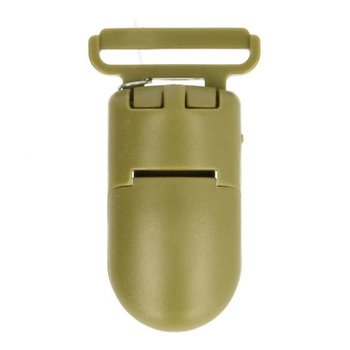 bretelclip, kunststof speenkoordclip legergroen