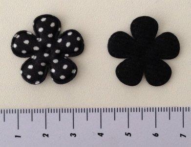 25 mm bloemetje zwart satijn met witte stip
