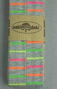 3 meter tricot biaisband grijs gemêleerd met neon strepen