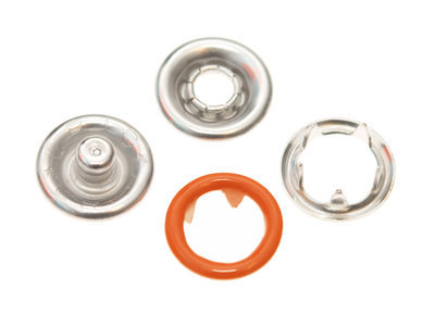 10 metalen open-ring-drukkers 9 mm oranje