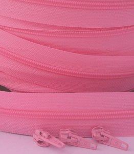 rits aan de meter, roze 4mm