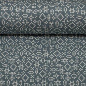 Mattes, geruwde french terry (iets groenig) grijs met pixelfiguren. Lila-Lotta design
