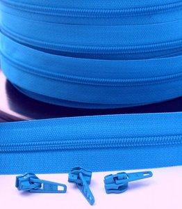 rits aan de meter, helder blauw 4mm