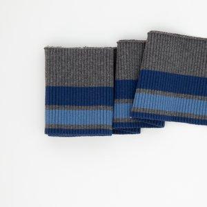 Bonnie:grijs gemeleerd met twee strepen blauw