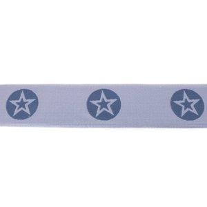 taille-elastiek 4 cm breed: ster in een rondje: jeanskleur in lichtblauw / HALVE METER