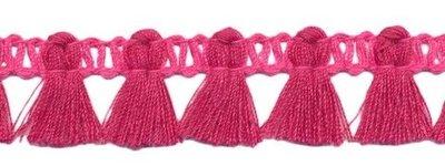 Band met kwastjes fuchsia-roze 15 mm