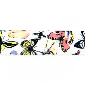 taille-elastiek 4 cm breed: wit met vlinders / HALVE METER