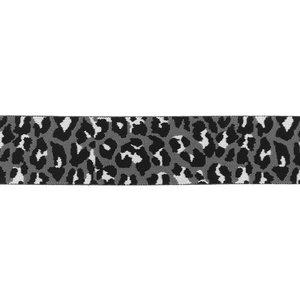 taille-elastiek 4 cm breed: panterprint op grijs / HALVE METER