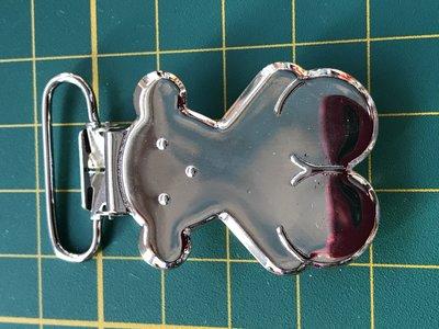 bretelclip, mooi glanzend zilverkleurig beertje voor band 25 mm