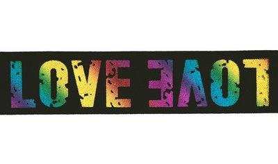 "taille-elastiek 4 cm breed:  glimmende regenboog ""love"" letters op zwart / HALVE METER"