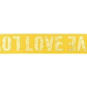 taille-elastiek 4 cm breed: goudkleurige love letters op geel / HALVE METER